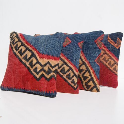 """KURDISH VINTAGE PILLOW COVERS RED VAN KILIM HAND WOVEN SQUARE AREA RUGS 12""""X12"""""""