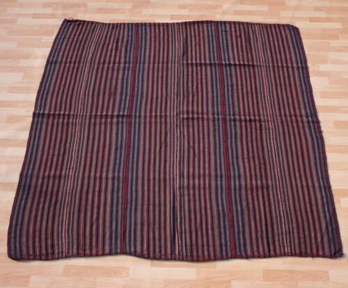 HOME DESIGN STRIPED PERSIAN KILIM HAND WOVEN BLUE SQUARE WOOL 40+ AREA RUG 6X6ft