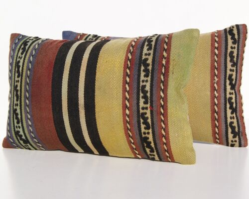 """RUG PILLOW COVER TURKISH WOOL RECTANGLE HAND WOVEN TWO KELIM AREA RUGS 20""""x12"""""""