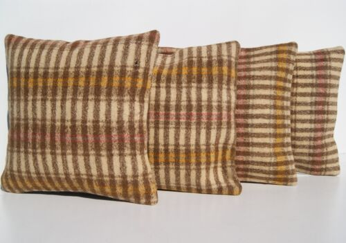 """FLAT WOVEN PILLOW BROWN TURKISH SQUARE 20+ HAND WOVEN  KILIM AREA RUGS 12""""X12"""""""