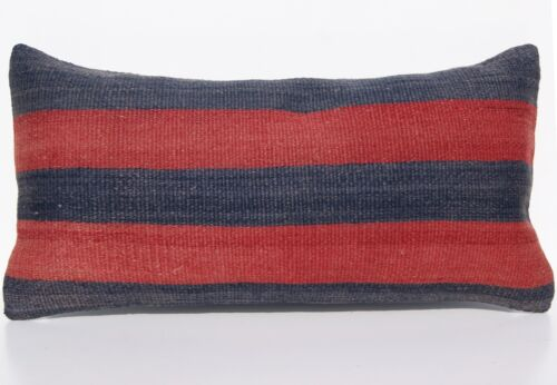 """TURKISH 24""""x12"""" STRIPED KILIM PILLOW COVER WOOL RECTANGLE HANDWOVEN AREA RUGS"""