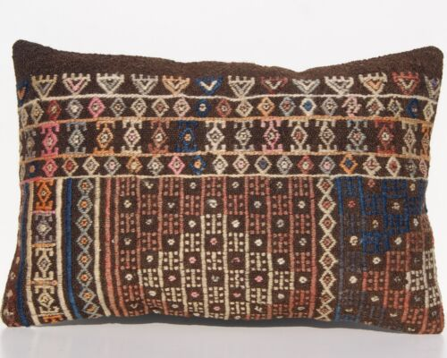 """HAND WOVEN VINTAGE PILLOW COVERS TURKISH WOOL RECTANGLE KILIM AREA RUGS  24""""x16"""""""