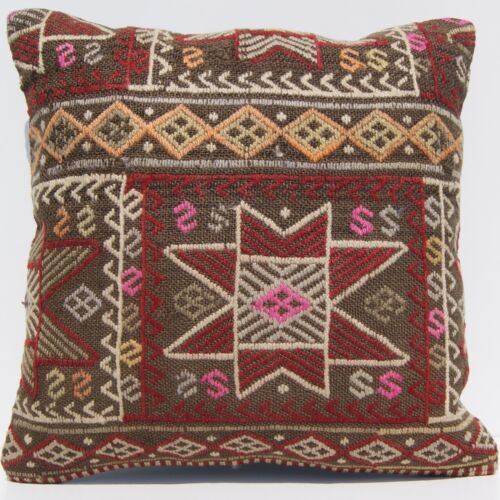 """TURKISH KILIM RUG PILLOW CASE 20""""x20"""" SQUARE HANDMADE WOOL EMBROIDERED AREA RUGS"""