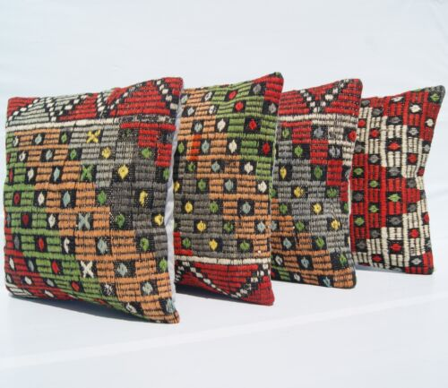 """EMBROIDERED PILLOWS KILIM HAND WOVEN TURKISH SQUARE WOOL GREEN AREA RUGS 16""""X16"""""""