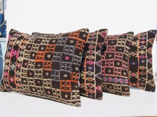 """EMBROIDERED TURKISH PILLOW COVERS RECTANGLE WOOL FOUR HANDMADE AREA RUGS 20X14"""""""