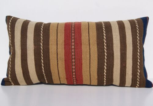 """TURKISH 24""""x12"""" BROWN KILIM PILLOW COVER WOOL RECTANGLE STEEP STRIPED AREA RUGS"""
