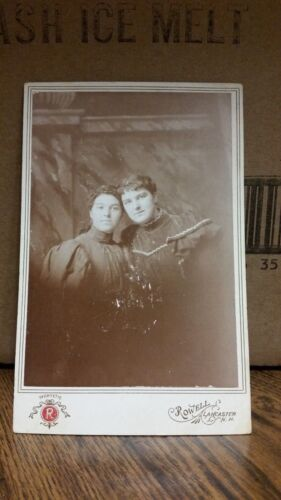 Vintage Cabinet Card Photograph - Two Women with Black Dresses-141-J36