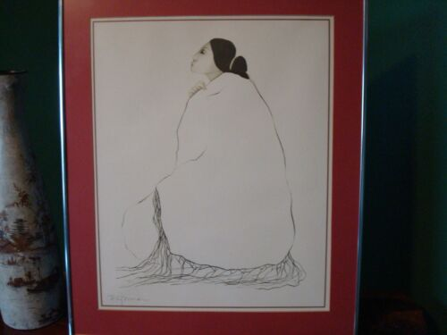 Native American Artist R.C. Gorman Lady In A Blanket Signed Print and Framed