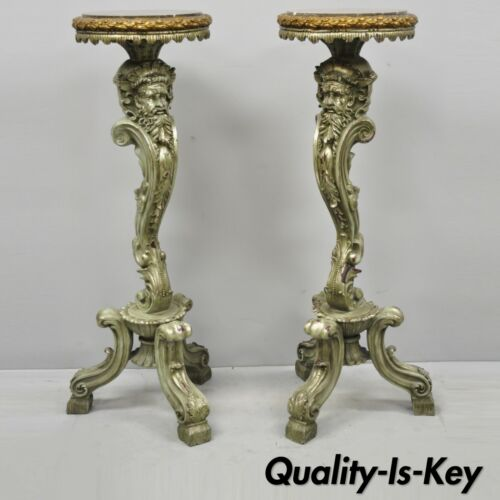 Pair of Marble Top Cast Resin Figural Mythical Pedestal Stands with Bearded Face