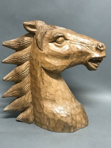 HANDCARVED WOOD HORSE HEAD PAPERMACHE MOLD/SCULPTURE