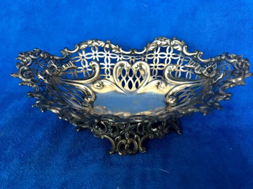 1890's London Sterling Silver Reticulated Bowl Basket William Comyns
