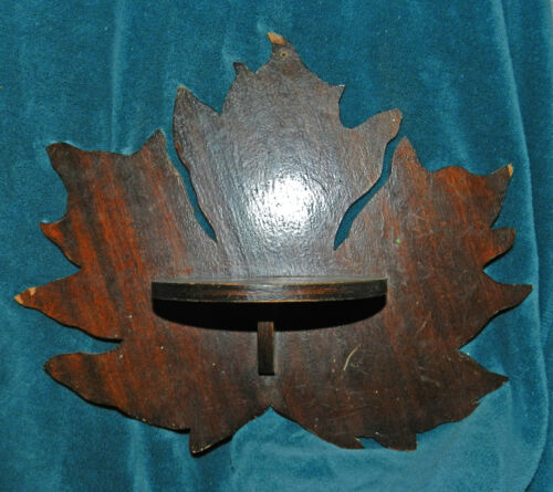 NICE ANTIQUE/VINTAGE PRIMITIVE MAPLE LEAF WOOD SHELVES/SHELF PAIR