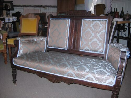 Victorian Renaissance Revival Parlor Settee, new upholstery WAS 650/ Now 475