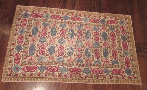 antique hand embroidered stitched wool chain link rug mat carpet tapestry linen
