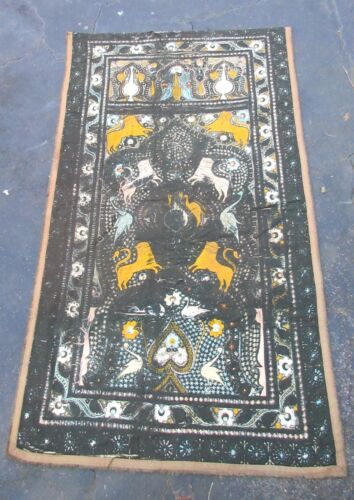 HUGE antique 1800's Middle East silk linen embroidered needlepoint tapestry rug