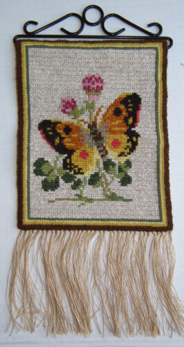 Antique Vintage Swedish Butterfly Wool Wall Hanging Hand Crafted Tapestry USA
