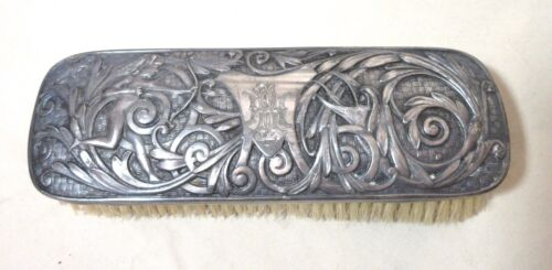 antique ornate 1800's Victorian silver-platefigural horse hair vanity comb brush