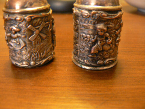 Vintage SILVER PLATE SALT & PEPPER SHAKERS. VERY OLD!