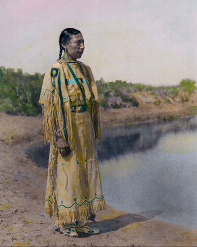 "CHEYENNE MAIDEN NATIVE AMERICAN INDIAN 1930 8x10"" HAND COLOR TINTED PHOTOGRAPH"