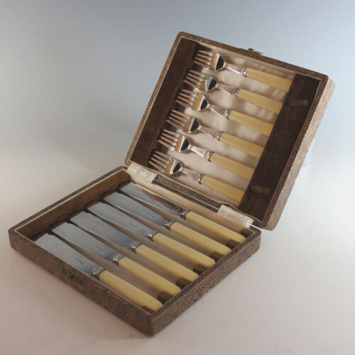 Walker & Hall Silverplate Knife/Fork Set for 6 with Box Silver Plate