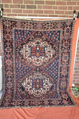Antique Tribal Rug Qashgai 4.7x6.3 nice colors #183