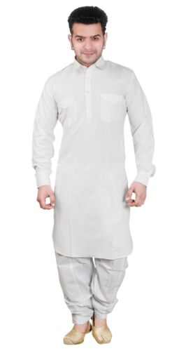 Men's White Cotton Pathani Kurta Pyjama Shalwar Kameez 1854