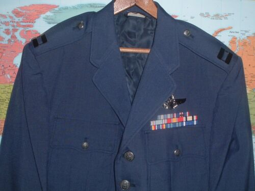 USAF AIR FORCE OFFICERS (CAPTAIN)  DRESS BLUE JACKET 40S WITH RIBBONS & WINGSOriginal Period Items - 13982