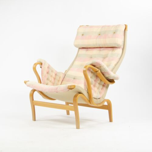 Vintage Original Bruno Mathsson Pernilla  Fabric Lounge Chair by Dux Sweden