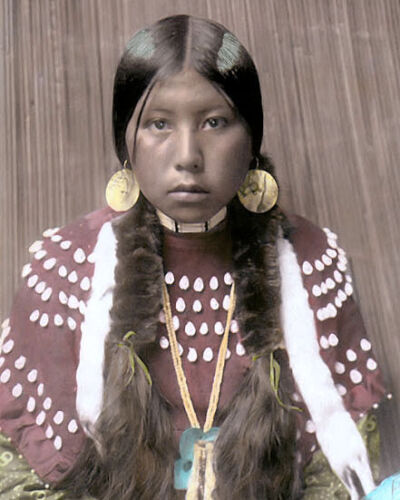 "IDAHO KALISPEL NATIVE AMERICAN INDIAN GIRL 8x10"" HAND COLOR TINTED PHOTOGRAPH"