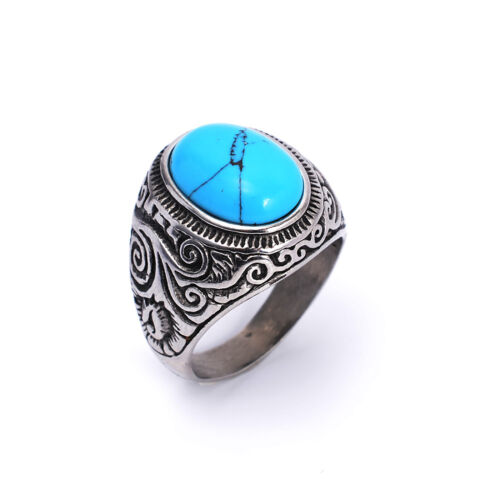 New 316L Stainless Steel Fashion Men's Black Blue Agate Stone Charm Ring AF