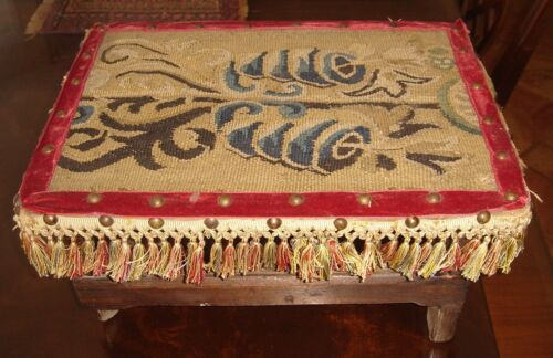 A Good Antique Stool with Tapestry Upholstery