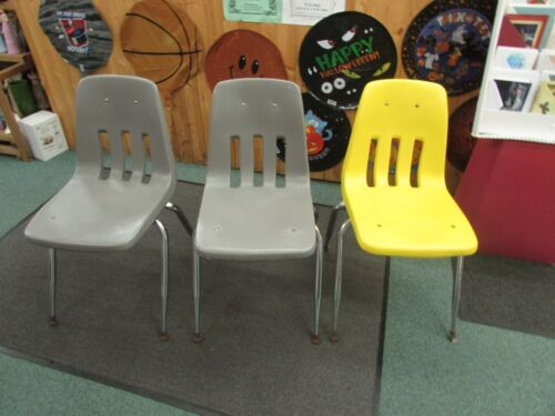 3 VINTAGE VIRCO bucket HARD PLASTIC CHAIR Mid Century retro gray yellow chrome