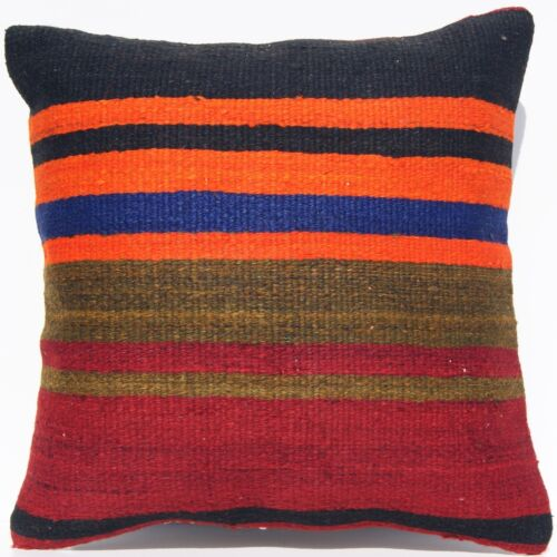"""VINTAGE TURKISH PILLOW COVER STRIPED KILIM RUG WOOL SQUARE AREA RUGS 16""""x16"""""""