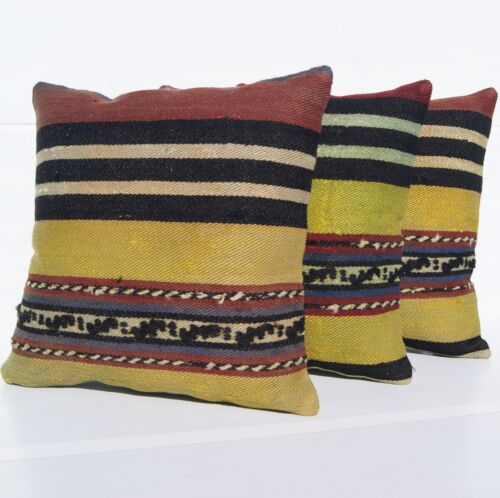 """VINTAGE TURKISH PILLOW COVERS 16"""" SQUARE WOOL HAND WOVEN ROME DESIGN AREA RUGS"""