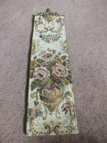 Collectible Beautiful Tapestry Wall Hanging Signed Corona Decor Brass Topper