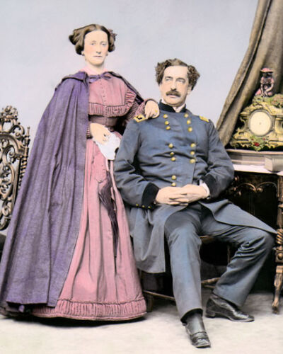 "MAJOR GENERAL ABNER DOUBLEDAY & MARY CIVIL WAR 8x10"" HAND COLOR TINTED PHOTO"