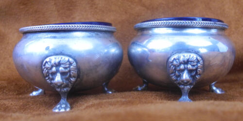 PAIR ANTIQUE STERLING SILVER FOOTED SPICE BOWL LIONS HEAD FINIAL W/ GLASS LINING
