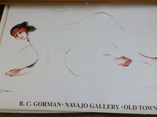 """RC Gorman, """"Meadows"""" Poster Signed 1990-1999 24""""X36"""" Native American Woman"""