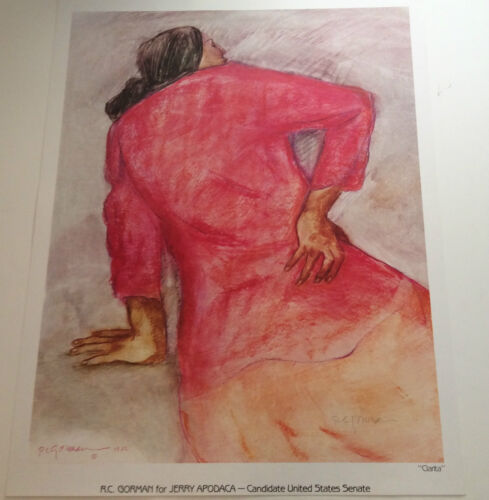 """RC GORMAN SIGNED Poster, """"CLARITA"""" 1982  Size is 24"""" X 30 1/2"""""""