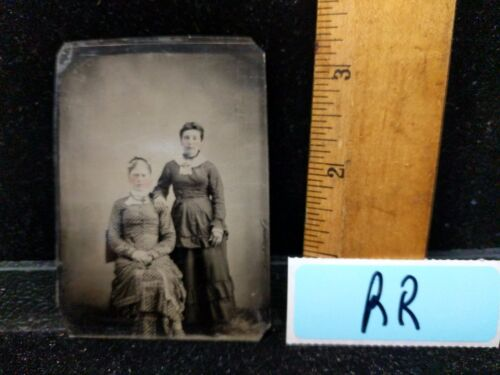 Antique Victorian Early TinType Tin Type Two Woman Fashion Hair Dress Hand Color