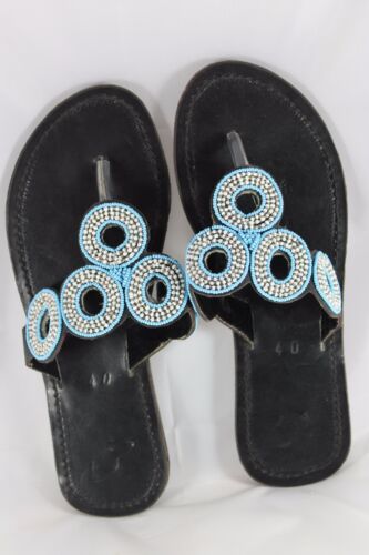 Sandals Gorgeous Hand Crafted Big O Leather Beaded Sandals Free Postage