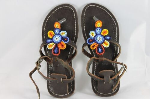 Sandals Women's Hand Crafted Leather Beads embellished Sandals Free Postage