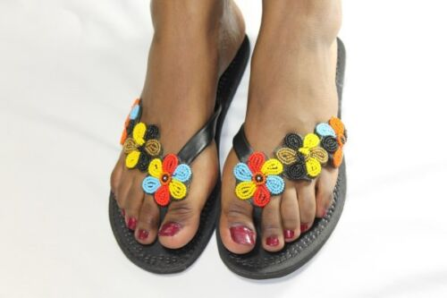 Sandals Gorgeous Hand Crafted Flower-Beaded Kenya Leather Sandals Free Postage