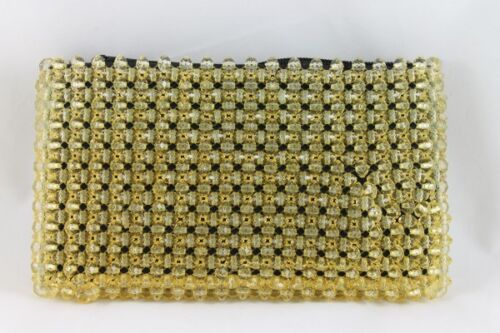 Clutch Purse Semi Precious Hand Crafted Beads Evening Occasional bag Free Post