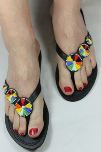 Gorgeous Sandals Hand Crafted Leather Beaded Sandals Free Postage
