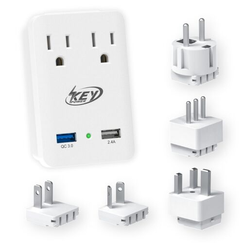 Key Power 2000W International Travel Adapter With 2 AC Features Quick Charge 3.0