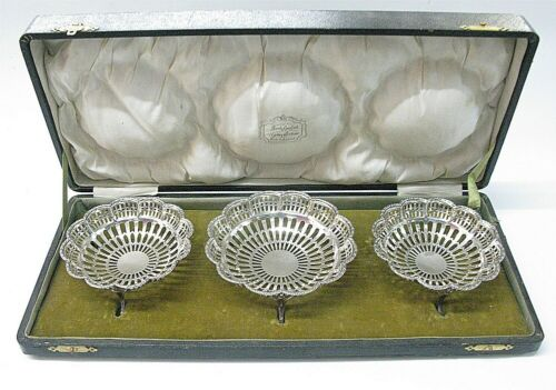 Sterling Silver Pierced Bon Bon Dish Set Hardy Bros 1911 Hallmarked Case