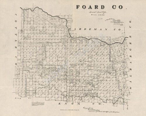 Map of Foard County TX c1891 repro 24x20