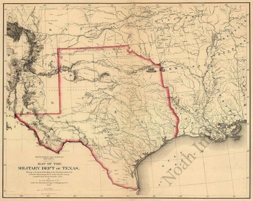 Map of the military dept of Texas c1859 repro 30x24