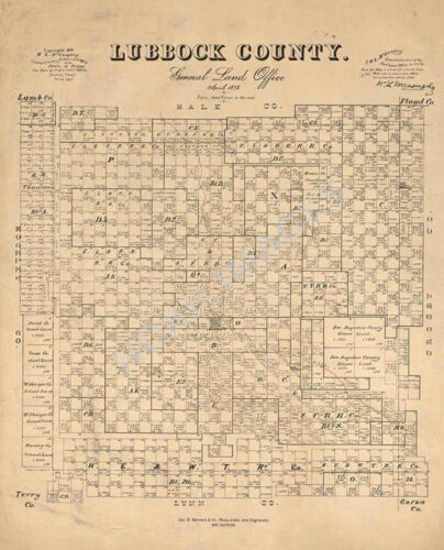 Map of Lubbock County TX c1892 repro 20x24